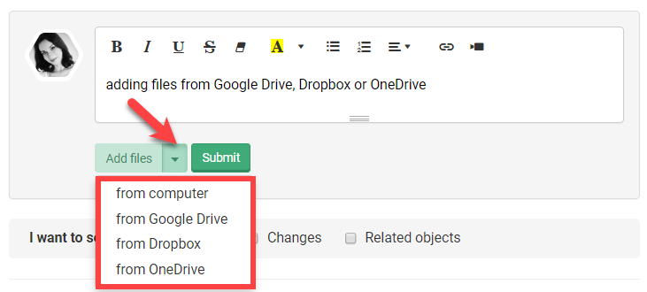 You can upload files from external storage like Google Drive, Dropbox or OneDrive